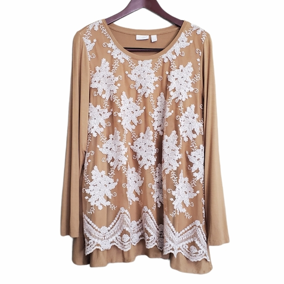 LOGO by Lori Goldstein Lace Tunic Top Med Golden